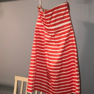 GAP Dresses - Gap coral striped sateen strapless dress 8